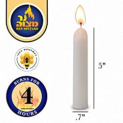 White Beeswax Shabbat Candles – Hand Dipped, Unb