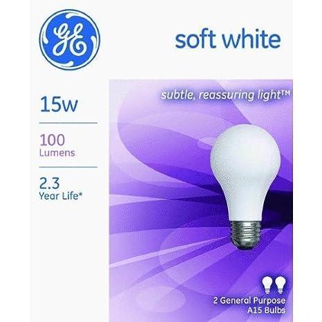 2 Pack GE Lighting 97491 15A//W Soft White Light Bulb Lighting G.E