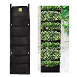 KORAM 7 Pockets Vertical Garden Living Wall Hanging Planter Waterproof Flower Pouch Recycled Materials Felt Indoor/Outdoor Wall Mount Balcony Plant Grow Bag for Herbs Vegetables and Flowers at Yards,