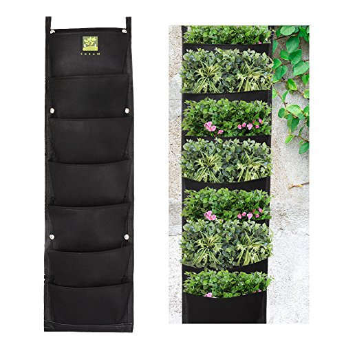 KORAM 7 Pockets Vertical Garden Living Wall Hanging Planter Waterproof Flower Pouch Recycled Materials Felt Indoor/Outdoor Wall Mount Balcony Plant Grow Bag for Herbs Vegetables and Flowers at Yards, (Flower Pouch)