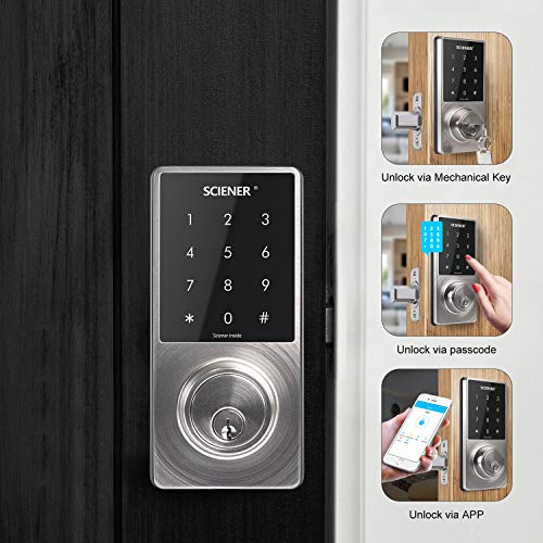 Sciener Digital Smart Lock, Bluetooth Enabled APP Touchscreen Keyless Entry Door Lock, Easy to Install,Silver by sciener (Image #1)