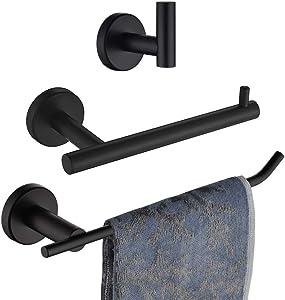 JQK Bathroom Hardware Towel Bar Set, 3-Piece Bath Accessories Set Matte Black Wall Mount Includes, 9 in HT Bar, TP Holder, Towel Hook, BAS103-PB