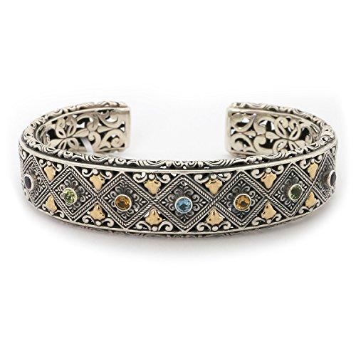 18k Yellow Gold & Sterling Silver Multi Gemstone Filigree Cuff Byzantine Bracelet - Multi Gemstone Bracelet Watch