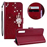 Moiky Glitter Diamond Flip Wallet Case for Samsung Galaxy A7 2018,Embossed Owl Flower PU Leather Case for Samsung Galaxy A7 2018,Luxury Red Brown 3D Bling Rhinestone Owl Magnetic Closure Stand Cover