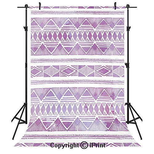 (Watercolor Photography Backdrops,Tribal Triangle Motifs Ethnic Design Hand Drawn Borders Aztec Native Decorative,Birthday Party Seamless Photo Studio Booth Background Banner 6x9ft,Violet Lilac White)