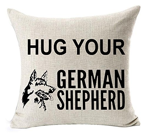Best Dog Lover Gifts Nordic Sweet Funny Sayings Hug Your German Shepherd Dog Shadow Red Lip Print Cotton Linen Throw Pillow Case Cushion Cover NEW Home Decorative Square 20 X 20 Inches (Gift Box Shepherd Red)