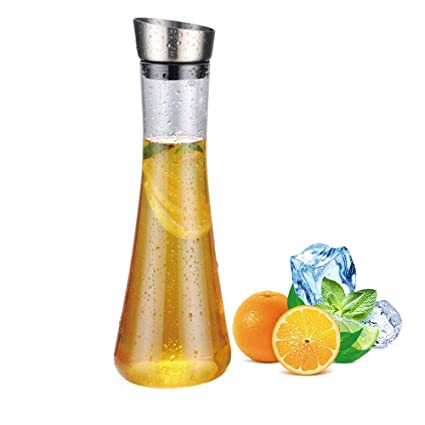 AOLVO Jarra de zumo de color naranja con tapa automática irrompible acrílico botella de agua de