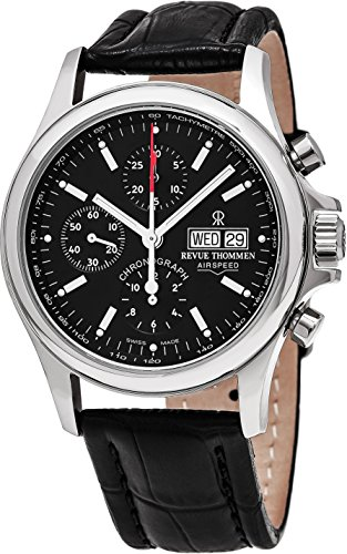 Revue Thommen Airspeed Heritage - Black Dial Chronograph Day Date Revue Thommen Watch Mens - Black Leather Band Swiss Revue Thommen Automatic Watch 17081.6534