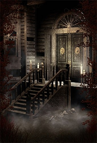 Laeacco Vinyl 6x8FT Photography Background Old Victorian House Spooky Night Candles and Ornamented Door Scary Skulls Stone Stairway Halloween Western Retro Architecture Building Style Background