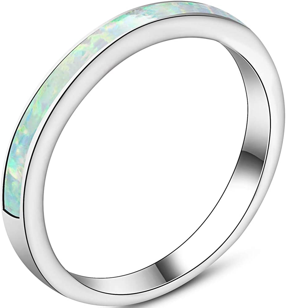 Jude Jewelers 4mm Stainless Steel Fire Opal Inlay Half Eternity Wedding Band Ring