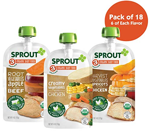 Sprout Organic Baby Food Pouches Stage 3 Meat Variety Pack, (Pack of 18); 6  Root Vegetables Apple with Beef, 6 Creamy Vegetables with Chicken, 6 Harvest Vegetables Apricot with Chicken