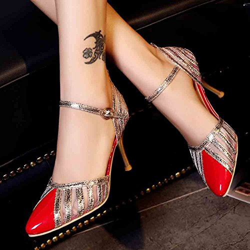Easemax Womens Trendy Stitching Mesh Patent Glitter Ankle Buckle Straps Pointed Toe Mid Kitten Heel Sandals Red TduuC5