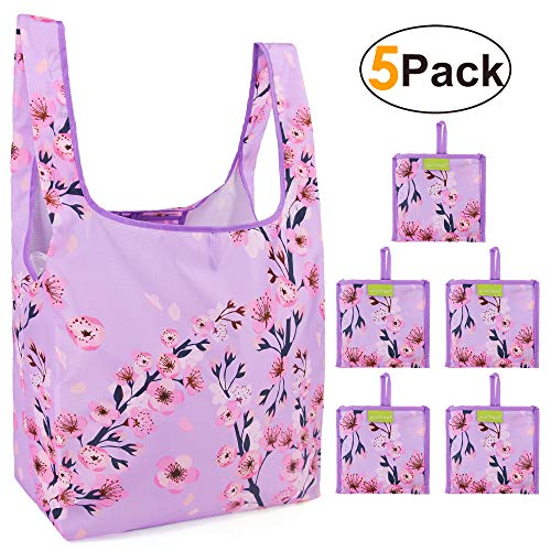 Reusable Grocery Bags Set, Grocery Tote Foldable into Attached Pouch, Ripstop Polyester Reusable Shopping Bags, Washable, Durable and Lightweight (Purple Peach blossom) (Very Light Peach)
