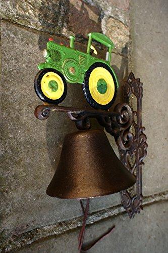 hübsche Trecker Gartenglocke grün Glocke für die Haustür mit Oldtimer Traktor