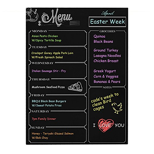 Weekly Menu Board,Magnetic Refrigerator Chalkboard,Shopping List, Meal Planner, Loftstyle Dry Erase Black Board Magnetic Notice Board Chore Charts Shopping List Diabetic Meal Prep Planning 16