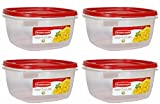 Rubbermaid Easy Find Lid Red Food Storage Container, BPA-Free Plastic, 14 Cup Pack of 4