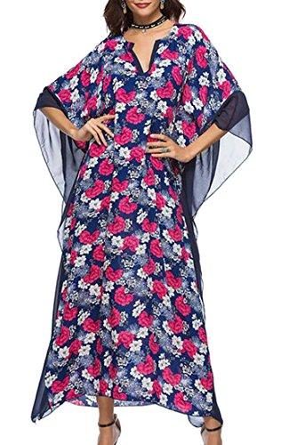 Jaycargogo Long Dress Sleeve Floral Dress Caftan Maxi Neck 3 Print Panel Batwing Women's V nXBqwArX