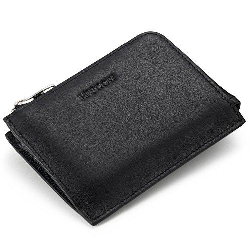 (HISCOW Metal Zipper Slim Sector Wallet with 2 Card Slots - Italian Calfskin (Black))