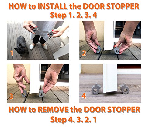 Door Stopper - Revolutionary New Design Stops Movement Forward and Backward - Holds Doors Securely in Place - Ideal for Pet And Child Safety Interior and Exterior Doors - 2 Door Stops Per Pack - Grey by GTP (Image #4)
