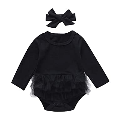 12fc9e23fd5a Miwear 0-24M Newborn Baby Girls My Little Black Dress Romper Party Dress  Summer Outfits