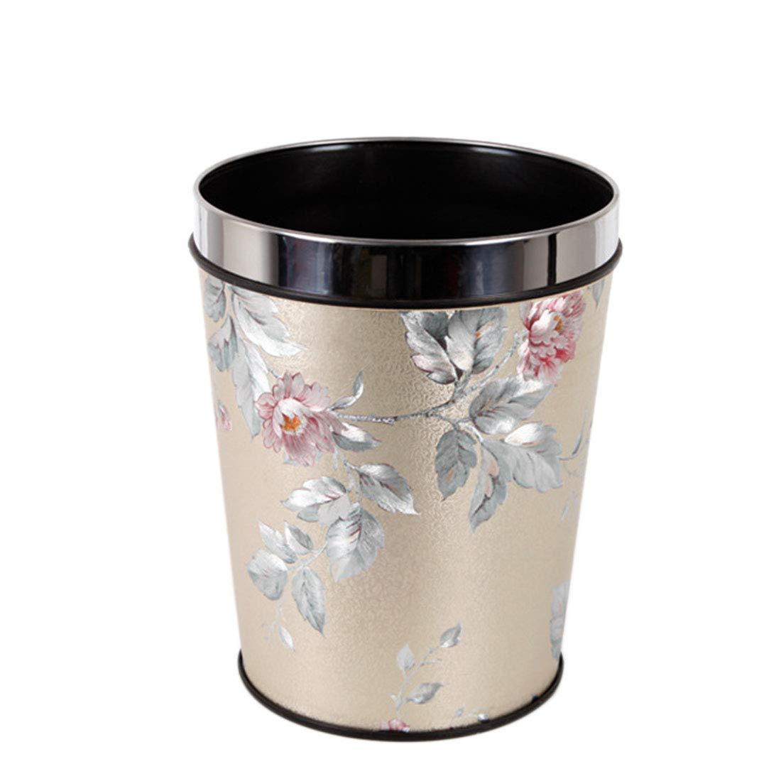 Gold Happy 12L Detach-A-Ring PP Trash Can Art Crafts Luxury Garbage Bin Rubbish Box Hotel Home Office Waste Basket