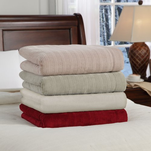 Soft Heat Ultra Micro-Plush Low-Voltage Electric Heated Triple-Rib Queen Size Blanket, Beige