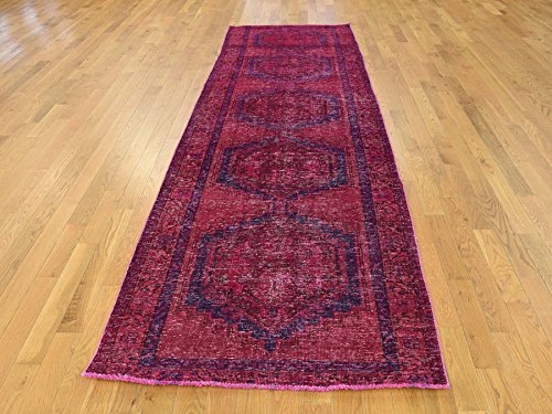 Viss Persian Rugs (3'4''x11' Hand-Knotted Pink Overdyed Persian Viss Wide Gallery Size Rug G38547)