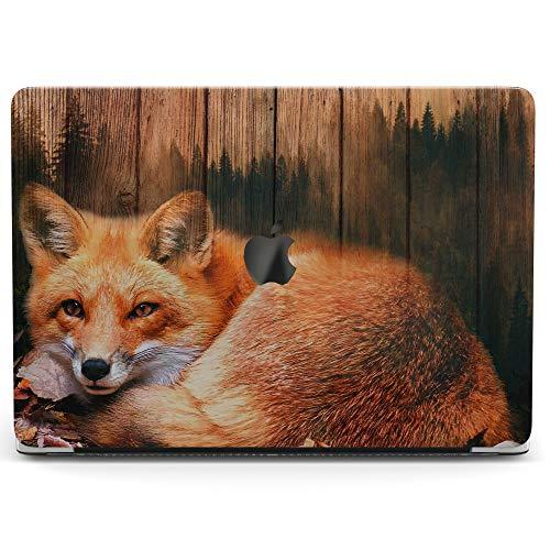 Wonder Wild Case for MacBook Air 13 inch Pro 15 2019 2018 Retina 12 11 Apple Hard Mac Protective Cover Touch Bar 2017 2016 2015 Plastic Laptop Print Cute Fox Wooden Texture Tree Animal Board Orange -