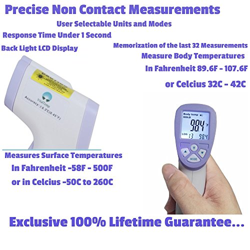 VitalTemp Non-Contact Thermometer Temperature Range from 89.0 to 107F Surface Temperature Sensor -58 to 500F