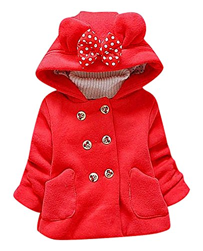 Pupik, Girls Warm Double Breasted Minnie Mouse Buttons Rabbit Ear Hooded Coat, Red 4T (Cheap Minnie Mouse Ears)