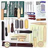 Craft Tools: 37 Pcs Leather Sewing DIY Craft Hand Stitching Tool Set with Awl Thinning Waxed Thread Thimble Kit Punching Processing