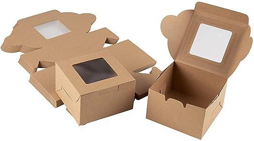 TrifyCore Casa y jardín, 4 x 2,3 x 4 Pulgadas, Cajas de Papel Kraft de harina (25-Pack) - Titular de la pastelería con Ventana de visualización Clara de Brown: Amazon.es: Hogar
