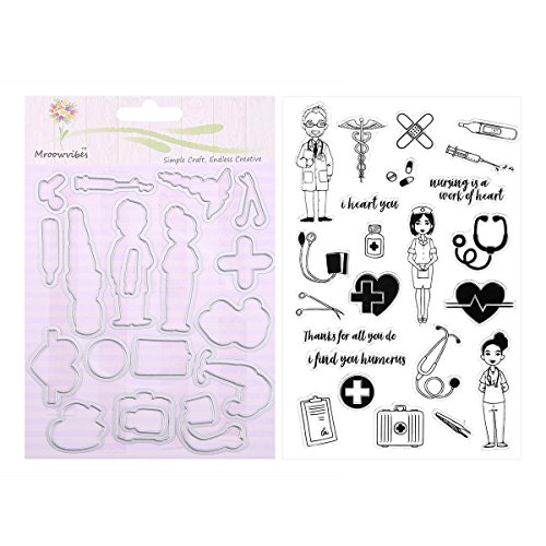 Whitelotous Medical Metal Cutting Dies Silicone Clear Stamps Set DIY Embossing for Scrapbook Paper Craft Decor