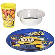Zak! Designs Plate, Bowl and Tumbler Mealtime Set with Despicable Me 2 Minions Graphics, BPA-free Melamine, 3 Piece Set