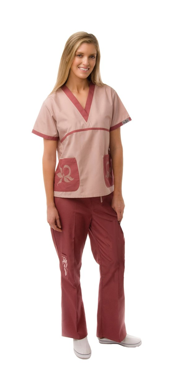 Dress A Med Womens Unique Designer Scrub 2 Piece Set Mauve S