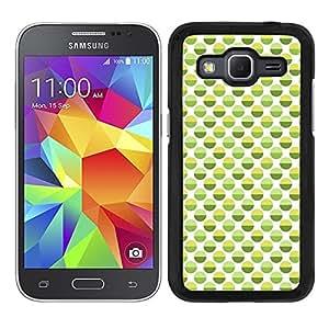 Funda carcasa para Samsung Galaxy Core Prime diseño ilustración estampado lunares verde y amarillo borde negro