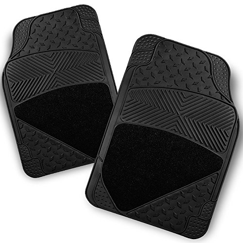 All Weather Heavy Duty Metal Pattern Design Black Car Interior Front Floor Mats 2 Pieces Set Liner (Mats Front 2 Piece Auto)