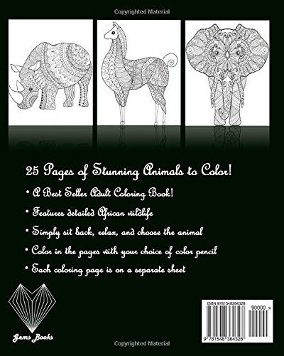 Amazon Coloring Book For Adult Stress Relief Animal Books Grownups Volume 1