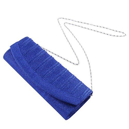 Flap Womens Pleated Stylish Clutch Party Damara Blue Glitter Snap 6HpTwq6xt