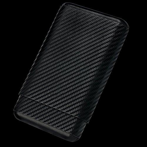 (4 Ct Carbon Fiber Leather Cedar Wood Cigar Case Travel Holder)