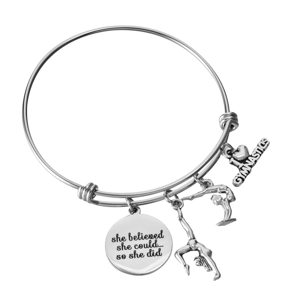 Miss Pink Gymnast Gifts Adjustable Wire Bangle I Love Gymnastics Charm Bracelet Birthday Jewelry for Teens Girls