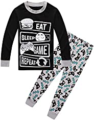 ALaMing Children Pajamas Game Life Boys Dinosaur Pj 100% Cotton Sleepwear 2Pcs/Set Kids Clothes