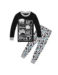ALaMing Children Pajamas Game Life Boys Dinosaur Pj 100% Cotton Sleepwear 2Pcs/Set Kids Clothes