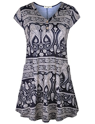 - Derminpro Womens Tee Blouse with Pockets, Summer Casual Concise V-Neck Cap Sleeve Flowy A Line Tops Paisley Black X-Large