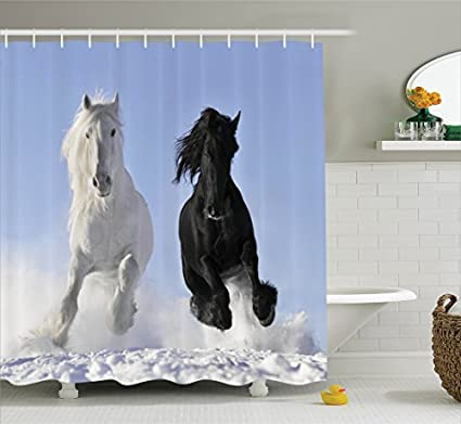 Horses Shower Curtain Set Animal Decor By Ambesonne Competing Racing Black And White On