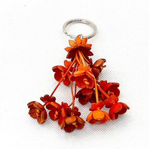 Taruron Handmade Leather Key Rings, Key Chain. Bag Accessories (Orange)