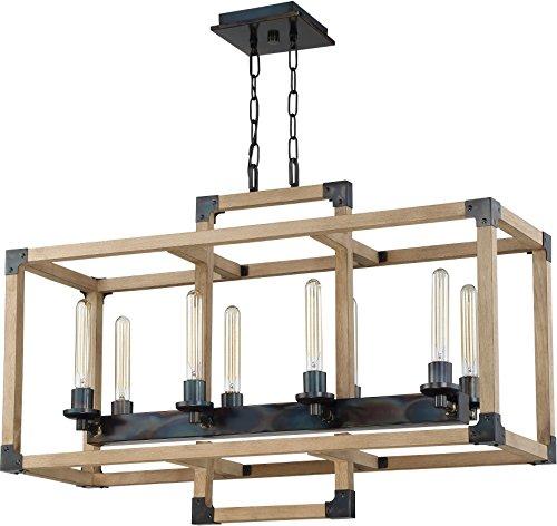 [Craftmade 41528-FSNW Cubic 8 Light Linear Chandelier Incandescent, Fired Steel/Natural Wood] (8 Light Linear Chandelier)