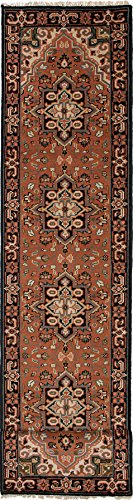 eCarpet Gallery Runner Rug for Hallway, Entrance, Kitchen | Hand-Knotted Wool Runner Rug | Royal Heriz Traditional Brown Rug 2'6