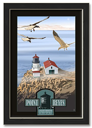 Northwest Art Mall Point Reyes Lighthouse Professionally Framed Wall Decor by Mike Rangner. Print Size: 12
