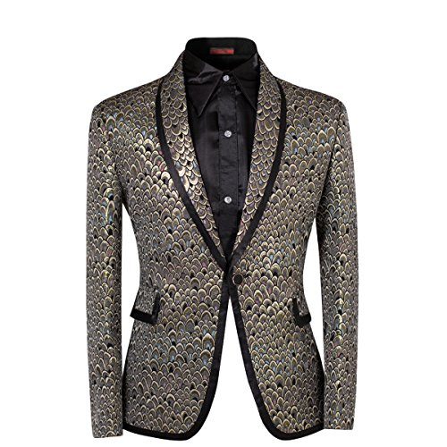 Men Notched Lapel Center-Vent One-Button Blazer Suits Jackets & Trousers, Golden, Medium
